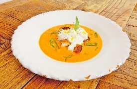 Zuppa con crostini e burrata Osteria Botteghe Antiche Putignano
