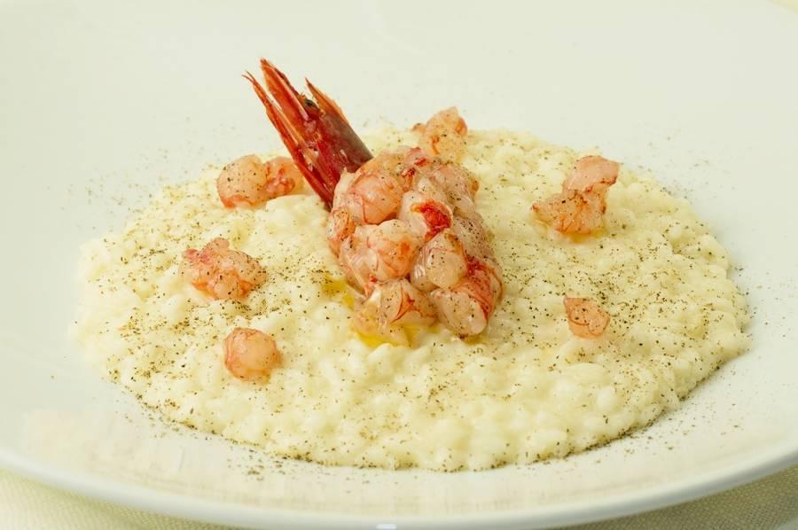 Risotto al pepe e cruditè di gamberi  Controcorrente Osteria di Mare Morciano di Romagna
